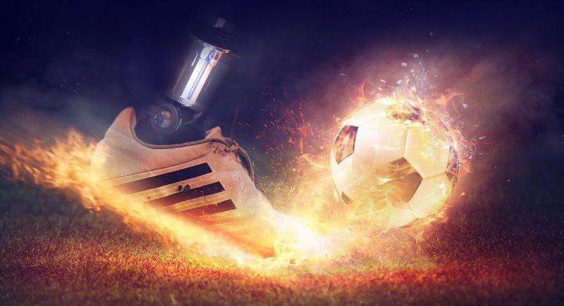Vuur, voetbal en voetbalschoen