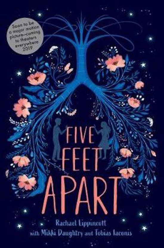 Dark blue and pink boekcover Five Feet Apart